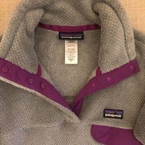 Patagonia Grey and Purple Fleece Sweatshirt/Hoodie